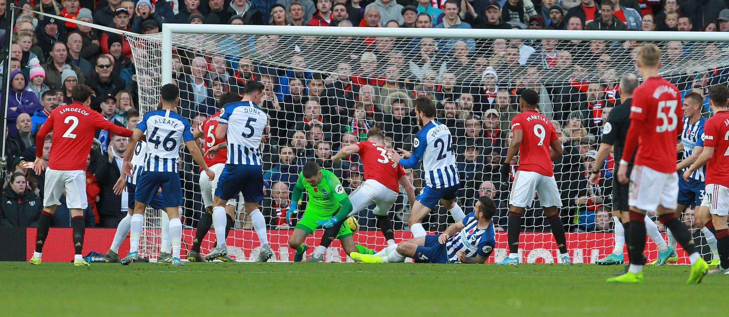 Follow Albion at Old Trafford against Manchester United:   Dunk pulls one back