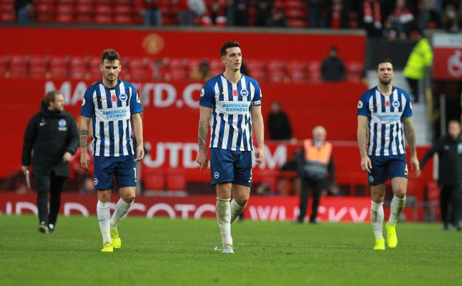 Lewis Dunk, centre, will be out for the game against Leicester after the international break. Picture: Richard Parkes.