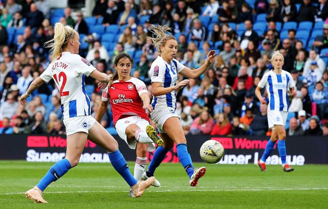 Albion women in action at the Amex last season against Arsenal.