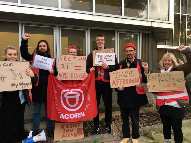 Members of ACORN Brighton protesting outside Hove Town Hall before lockdown measures were brought in