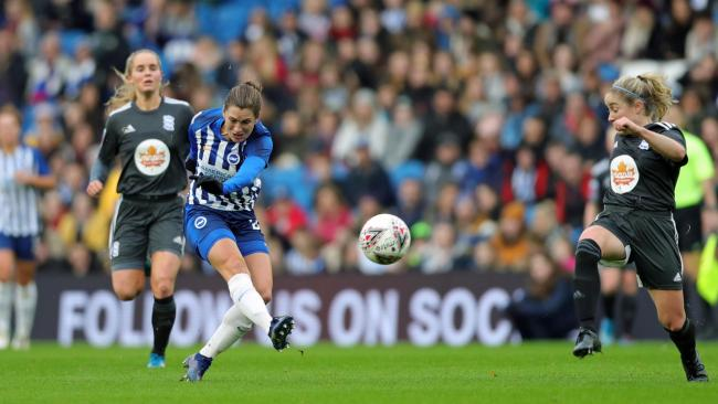 Lea Le Garrec scores for Albion. Picture by Paul Hazlewood/BHAFC