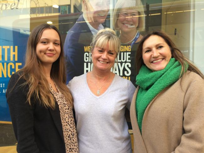 From left, employee Bethan Manville, manager Joanna Beale, and former Thomas Cook employee Sharon Confue
