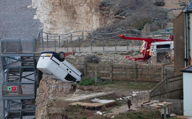 Beach closed after vehicle falls from cliff. Pictures by Pete Abel