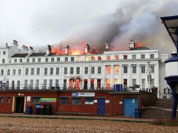 The Claremont Hotel at the time of the fire