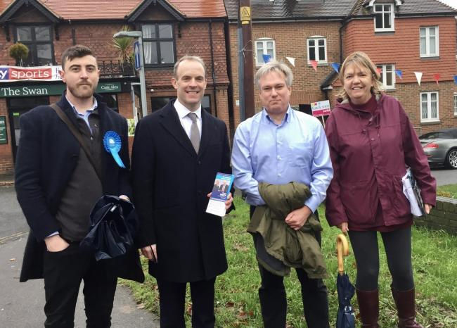 Dominic Raab met Crawley candidate Henry Smith on the campaign trail for the Conservatives