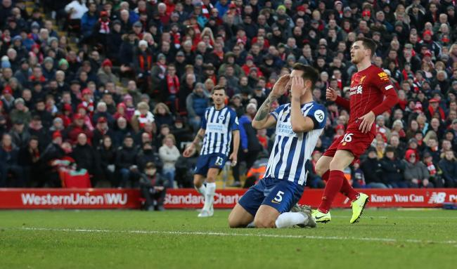Lewis Dunk goes agonizingly close for Albion. Picture: Richard Parkes.