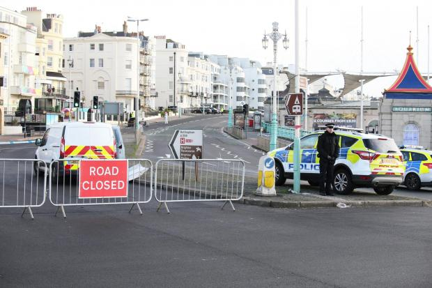 The Argus: The scene in Marine Parade, Brighton as police begin a murder inquiry, Operation Danebridge