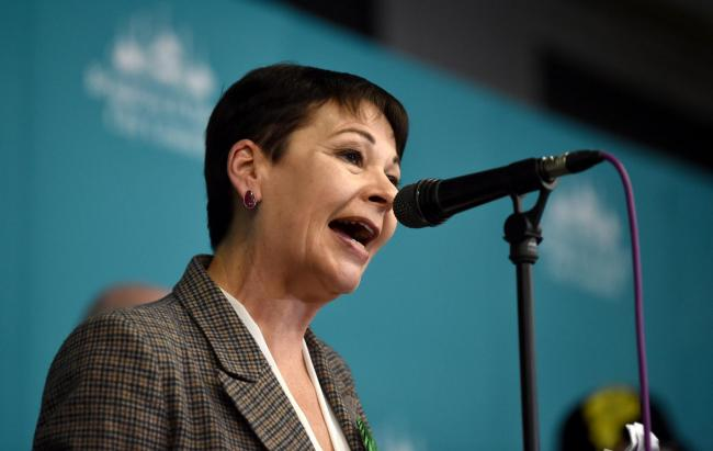 Brighton UK 13th 2019 - Caroline Lucas of the Green Party wins the Brighton Pavilion constituency seat at the General Election count being held in The Brighton Centre this evening  : Credit Simon Dack / Alamy Live News.......