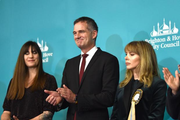 Brighton UK 13th 2019 - Peter Kyle of Labour wins the Hove constituency seat at the General Election count being held in The Brighton Centre this evening  : Credit Simon Dack / Alamy Live News.......