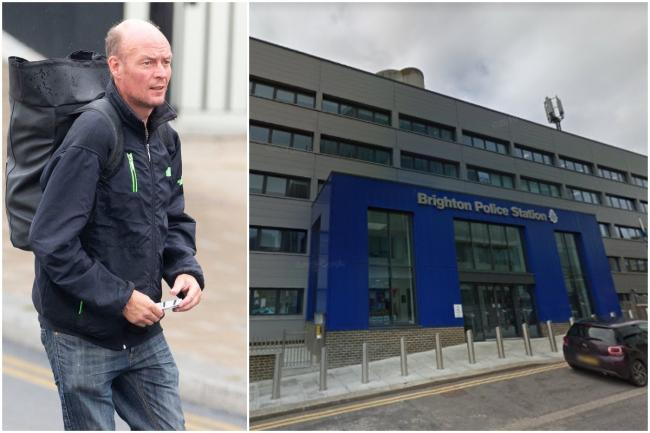 Mark Wilkinson threatened to hurl a brick at the police station in John Street, Brighton