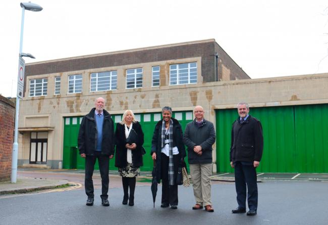 L-R) Cllr Jim Deen, Sue Belton, Worthing Society Chairman, Jordan Trimby, Planning Enforcement Officer, Cllr Kevin Jenkins, WBC's Executive Member for Regeneration, and Edward Hodgson, Managing Director a