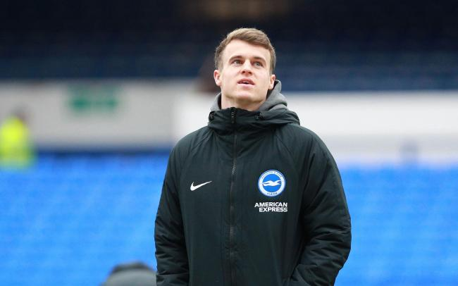Solly March pictured at Everton on Saturday, where he returned to the senior squad as an unused sub