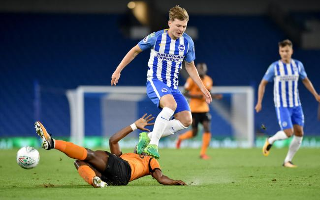 James Tilley in action for Albion against Barnet in the Carabao Cup