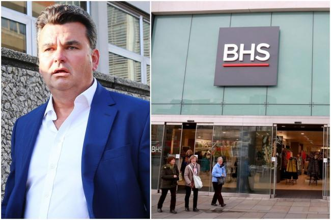 Dominic Chappell outside Brighton Magistrates' Court, and the former BHS store at Churchill Square, Brighton