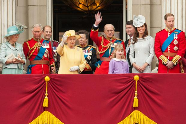 File photo dated 16/06/12 of Queen Elizabeth II (fourth from left) and members of the British royal family (from left to right) the Duchess of Cornwall, the Prince of Wales, the Earl of Wessex, the Princess Royal, the Duke of Edinburgh, the Duchess of Cam