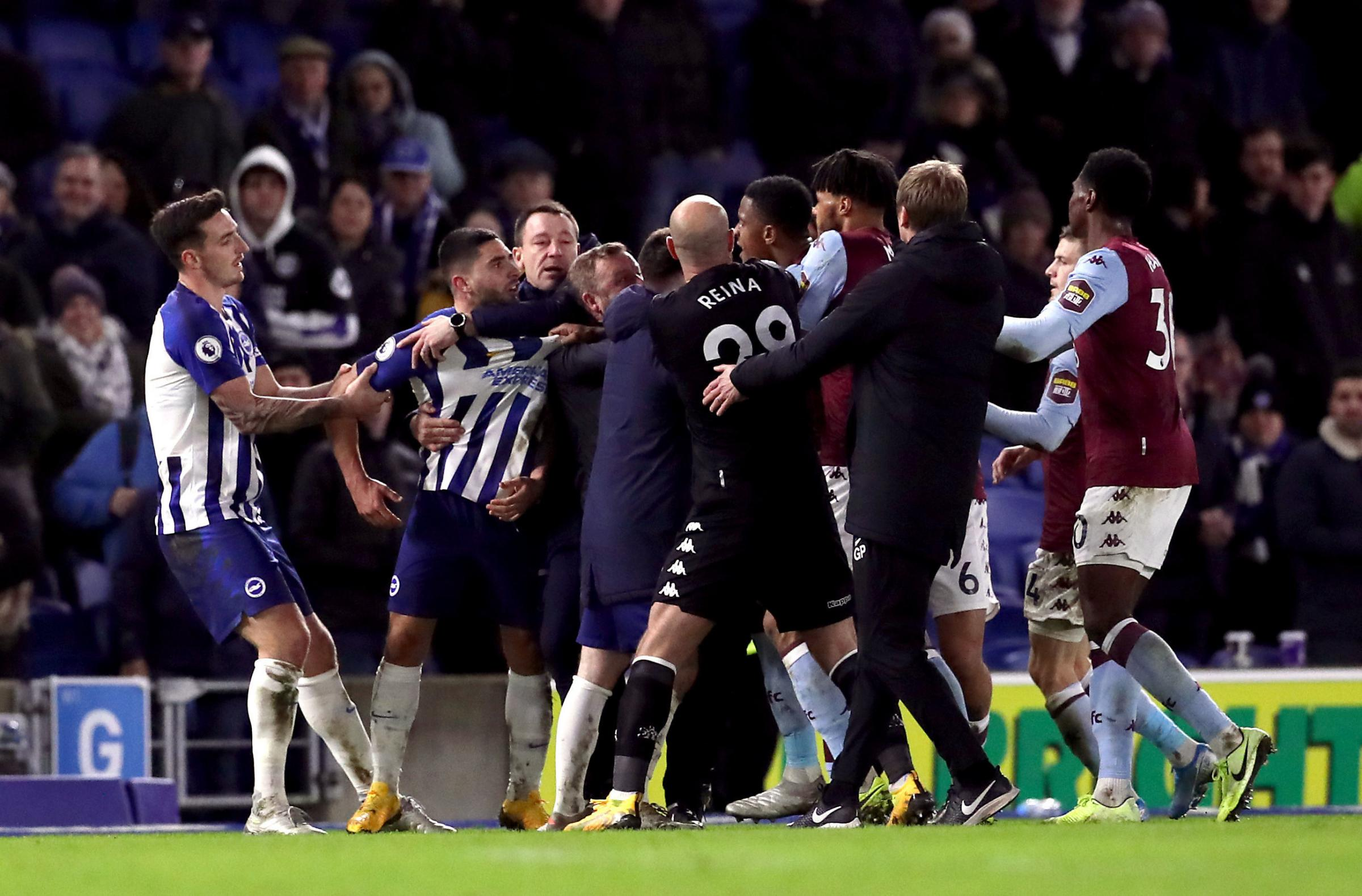 Neal Maupay involved in heated exchange after final whistle as Albion draw with Villa