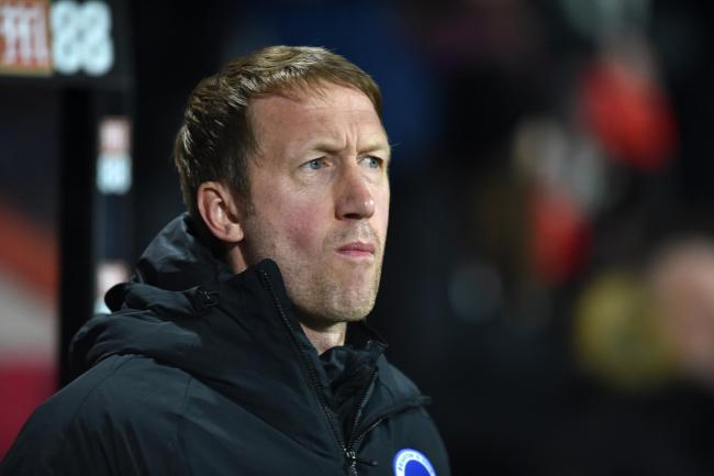 Graham Potter watches the defeat at Bournemouth