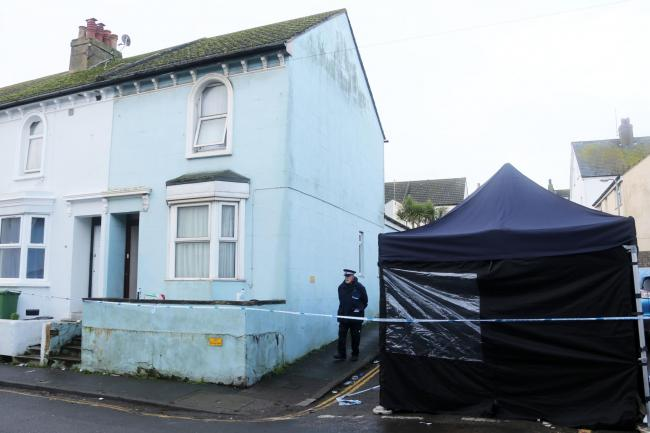 The scene in Elphick Road, Newhaven, where 18-year-old Ollie Wells was stabbed