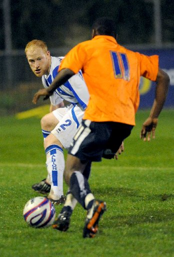 Andrew Whing in action for the reserves last nigh. Picture by Tony Wood