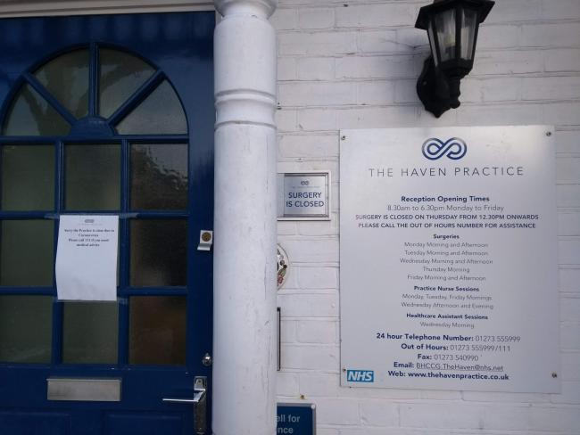 The Haven Practice in Hove has closed 'due to coronavirus'