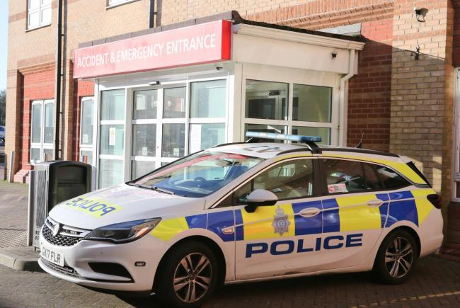 A police car outside Worthing A&E