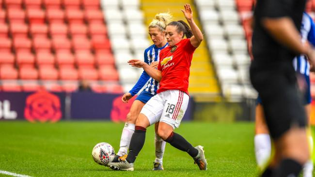 Kirsty Barton in action against Manchester United. Picture: Kyle Hemsley/BHAFC.