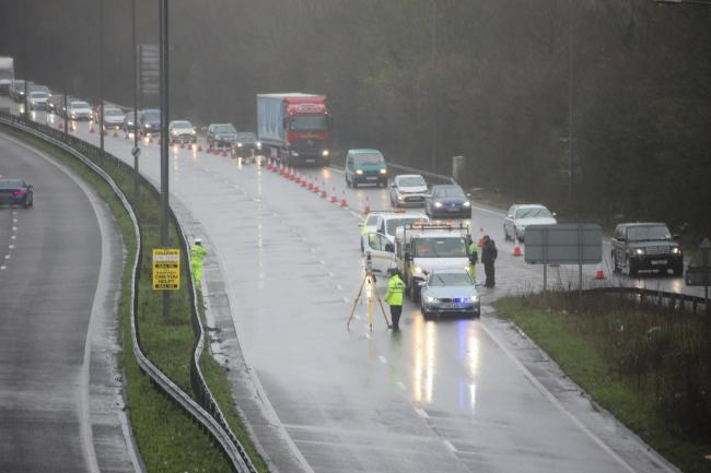 The A27 is closed after an accident