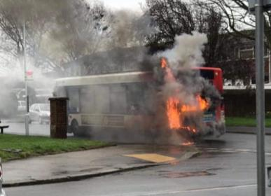 Worthing bus fire: fire crews warn people to avoid the area