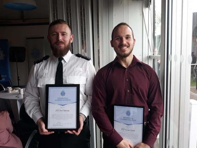 PC Brett Robinson and PCSO Simon Quirke were presented with awards