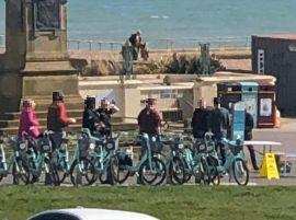 Coronavirus Hove: Police seen 'trying to disperse group of 8' Credit @Brighton_Voice