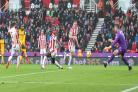 Jose Izquierdo opens the scoring at Stoke. All pictures by Richard Parkes