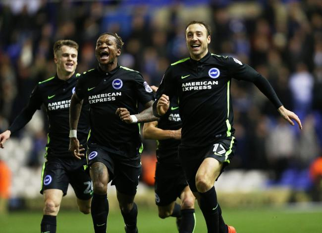 Glenn Murray runs the length of the field to Albion fans after scoring