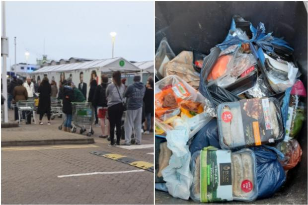 Wealden District Council has shared an image of wasted food in a bin after panic-buyers stocked up earlier this month