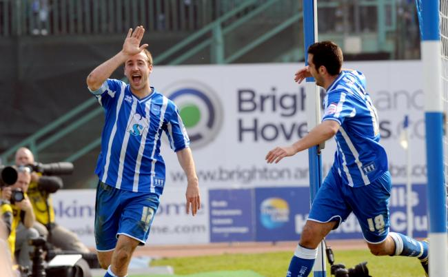 Glenn Murray celebrates his winner with fellow goalscorer Gary Dicker
