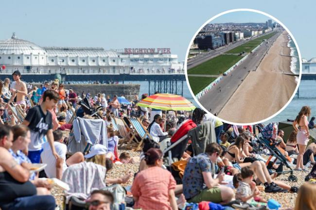Brighton seafront pictured in April 2019. Inset: the beach pictured today