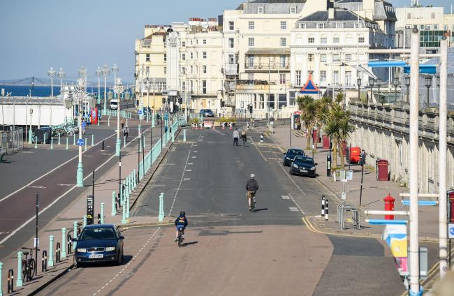 Brighton UK 20th April 2020 - Madeira Drive on Brighton seafront has been closed by the city council  to traffic between 8am and 8pm for the next three weeks to allow cyclists and pedestrians to exercise in safer conditions during the Coronavirus COVID-19
