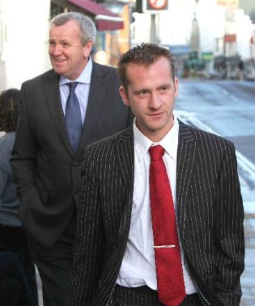 GUILTY: Nathan Winter outside court at an earlier hearing, followed by his father Martin