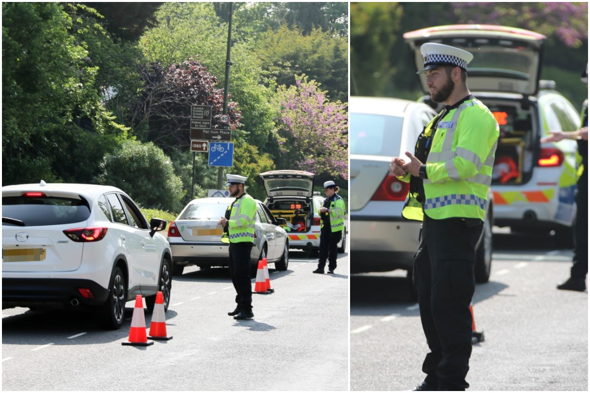 Police checkpoint turning away and fining motorists breaking lockdown to come to Brighton