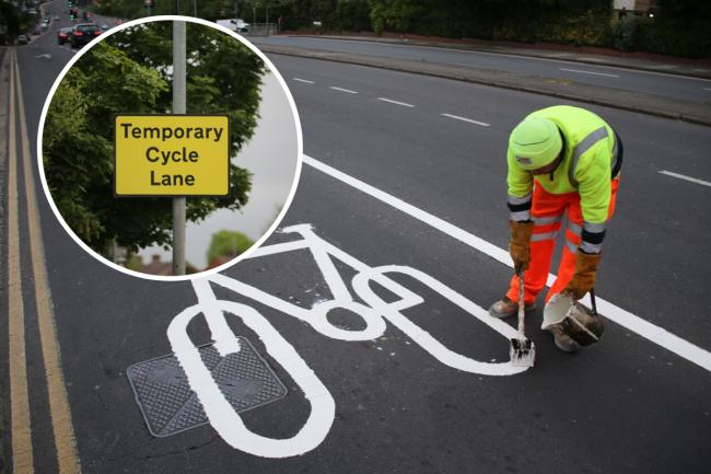 The UK's first Covid cycle lane on major dual carriageway has opened