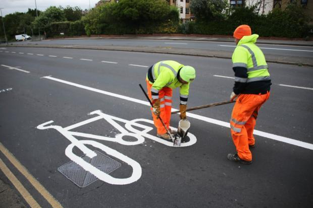 A cycle lane being created on A270 Old Shoreham Road in May