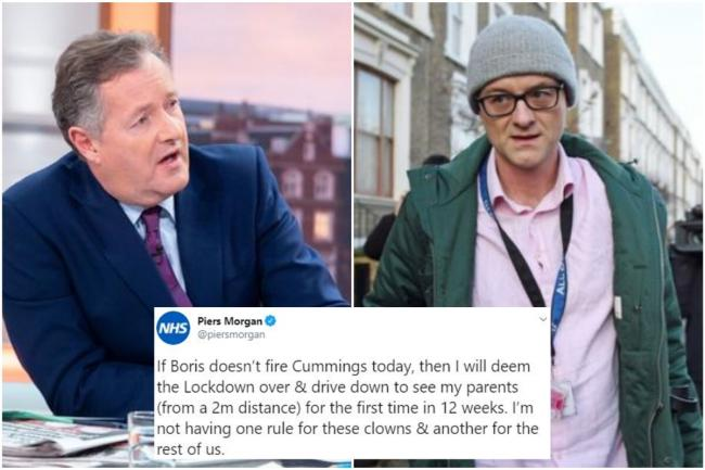 Piers Morgan will drive back to his home in Newick today if Cummings isn't sacked, the ITV presenter said