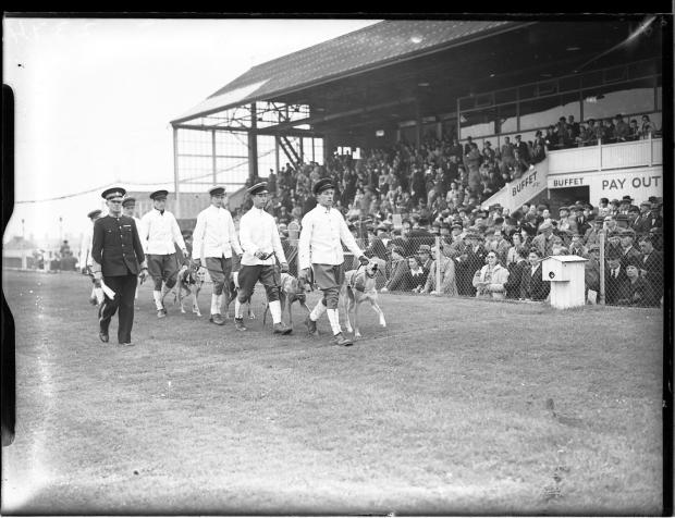 The Argus: Stadium staff with greyhounds in 1940. Photo: East Sussex Record Office/The Keep