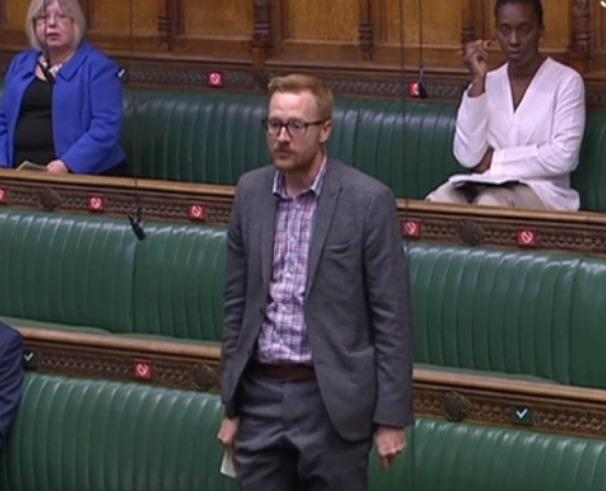 Labour MP for Brighton Kemptown Lloyd Russell-Moyle speaking in a socially-distant chamber on Tuesday