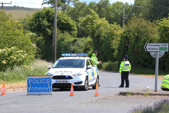 A cyclist died in a crash with a truck near Poynings
