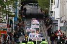 TROUBLE: A heavy police presence at last year's May Day Smash EDO demonstration in Brighton