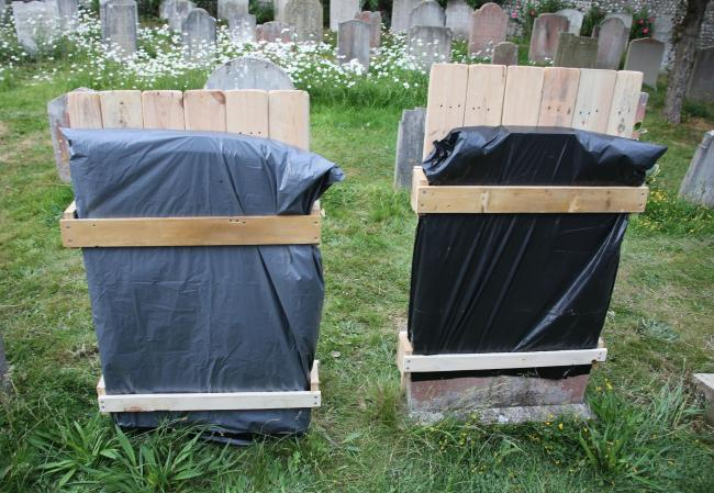 St Margaret's church in Rottingdean covered two headstones bearing 'deeply offensive' inscriptions last week