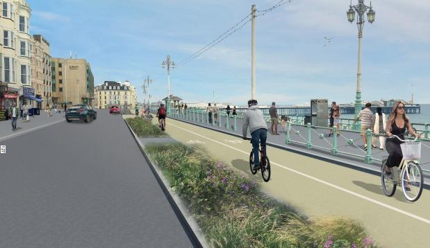 An artist's impression of the approved plans for a new cycle lane along Brighton and Hove seafront