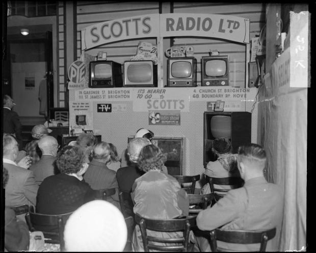 The Argus: Televisions are demonstrated at Scott's Radio in August 1956. Photo: East Sussex Record Office/The Keep