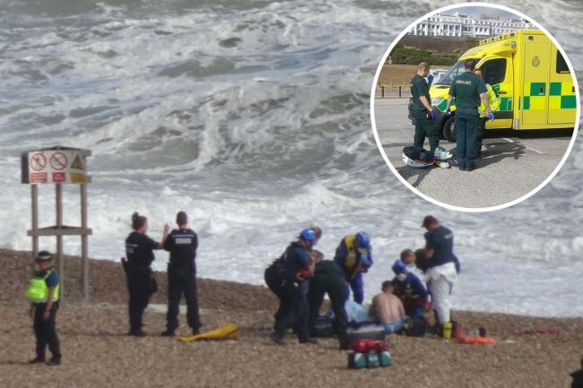 A man who got into trouble at sea was rescued this evening near Brighton Marina