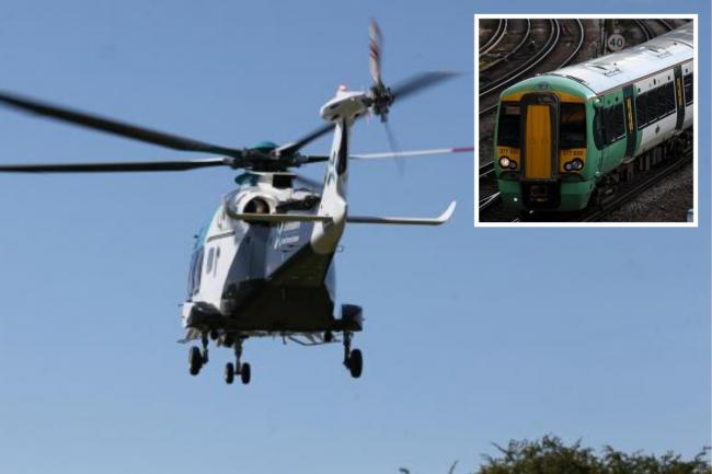 All trains were stopped between Hove and Worthing after the air ambulance was called to a 'casualty on the tracks' at Portslade Station